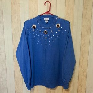 Vintage 1980s Embellished Long Sleeve Tee